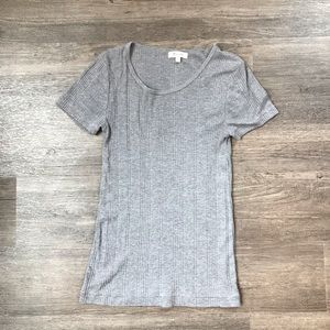 Madewell Grey Slim Fit Ribbed T Shirt Small